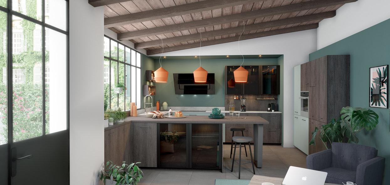 Skreddersydd moderne kjøkken grønt tre hagestemning