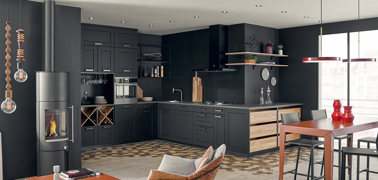 Bilde Åpent kjøkken sort design