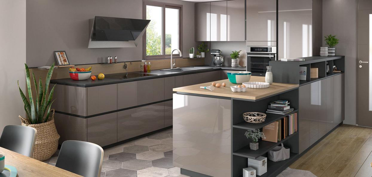 åpent kjøkken moderne U-formet løsning