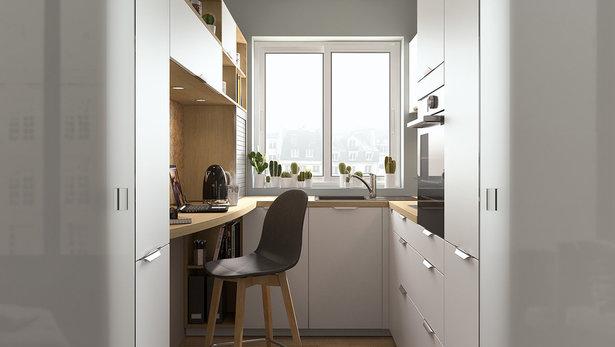 Lite moderne hvitt kjøkken