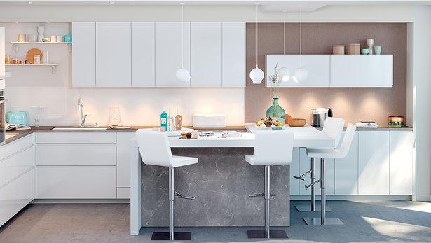 L-formet moderne og trendig kjøkken hvit uten grep