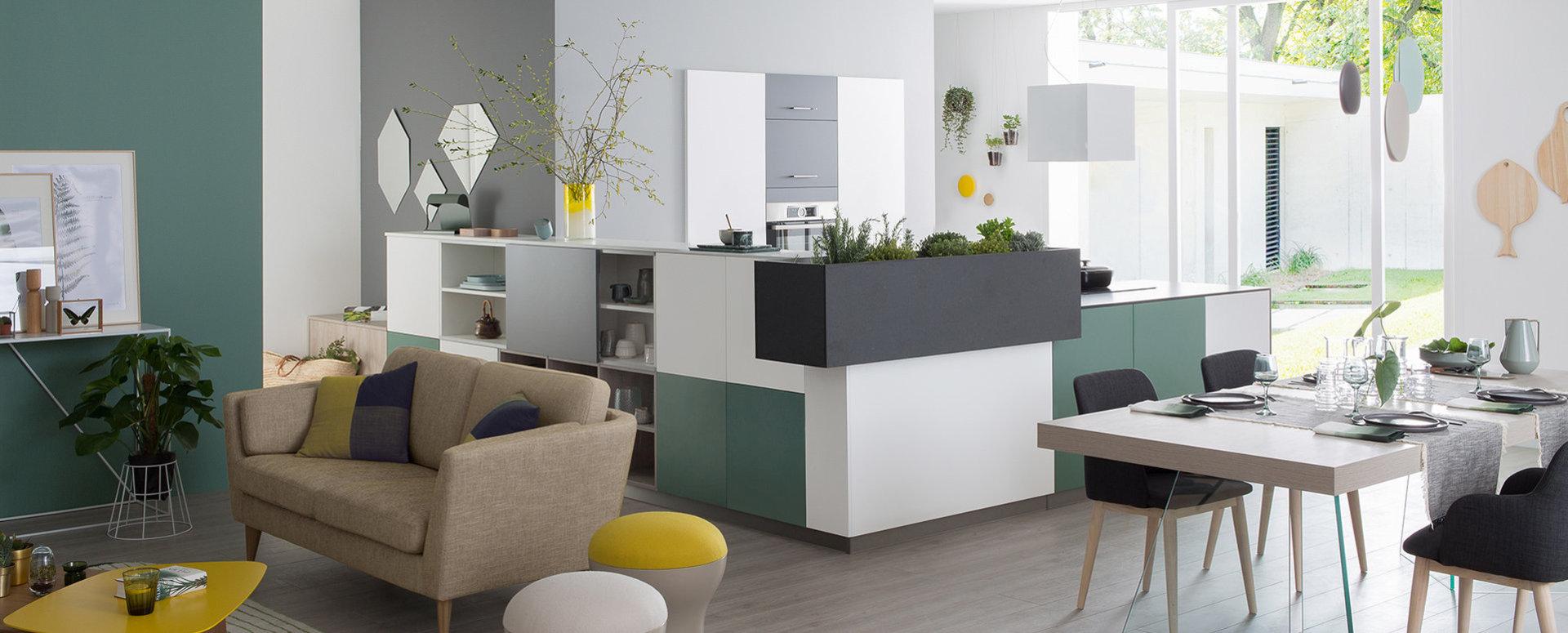 Bilde Åpent kjøkken grå grønn design