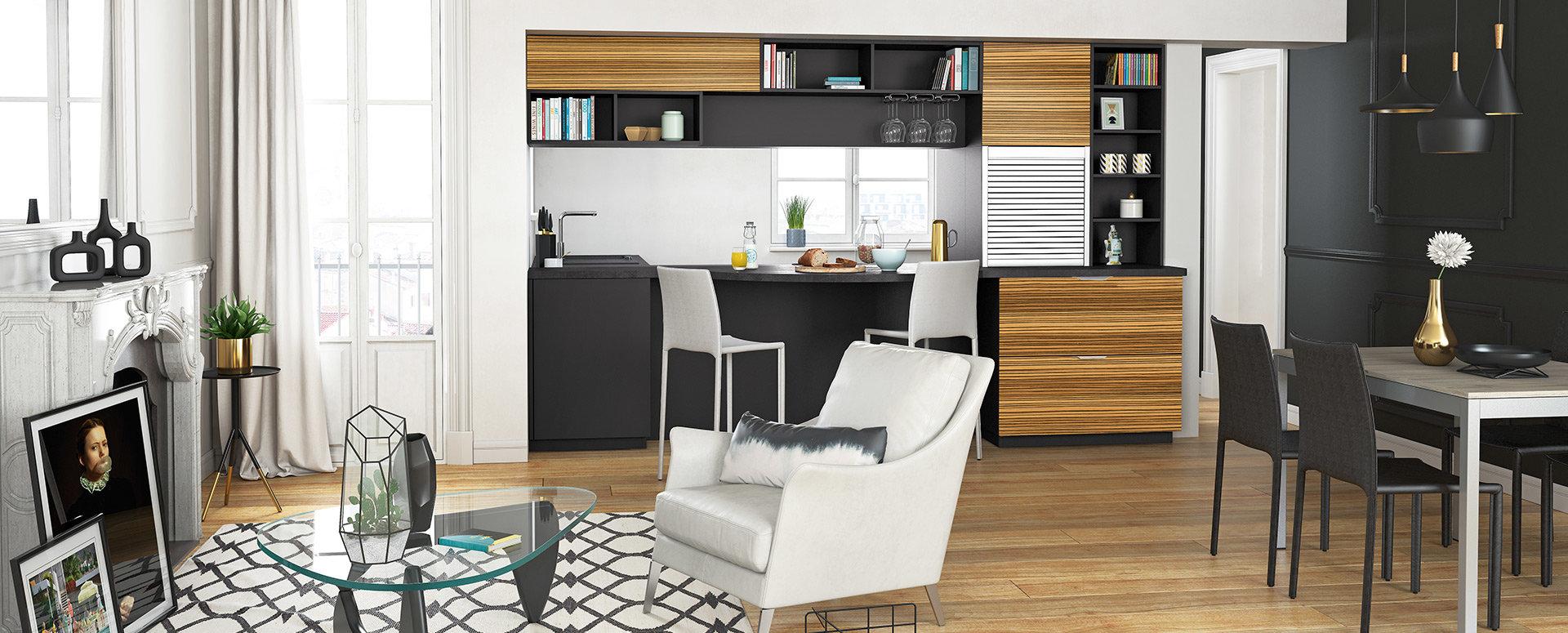 Bilde Lite åpent trendig kjøkken svart tre retro