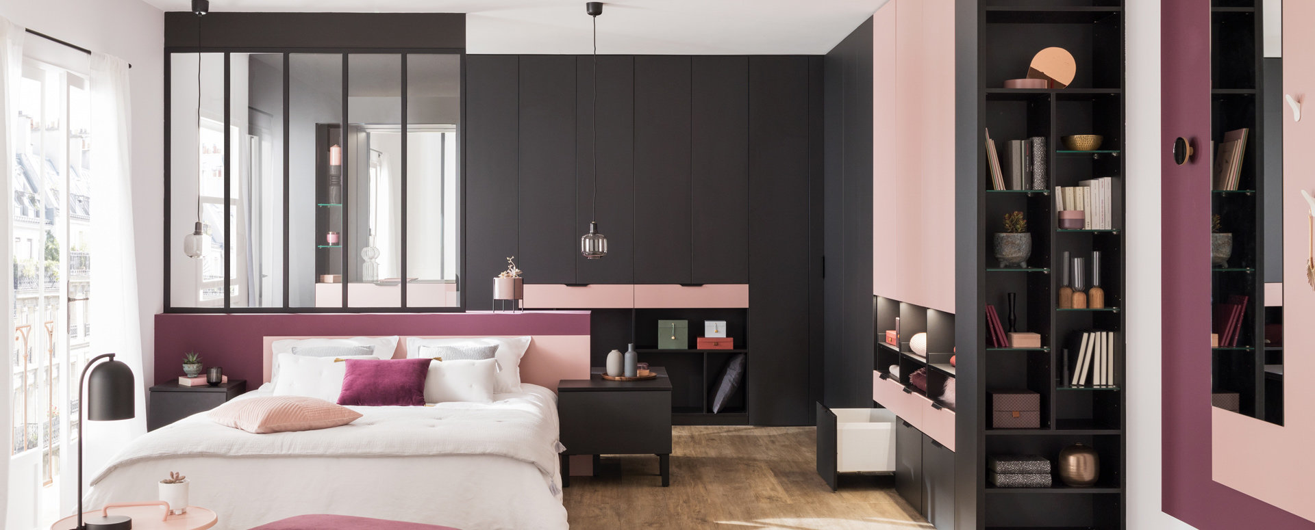 Bilde Soverom med garderobe sort og rosa matt melamin med skreddersydde mål perspektiv